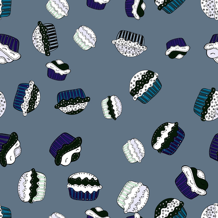 Hand drawn outlined colorful seamless pattern with cupcakes, cute background on neutral, gray and white. Sweets design. Vector illustration.
