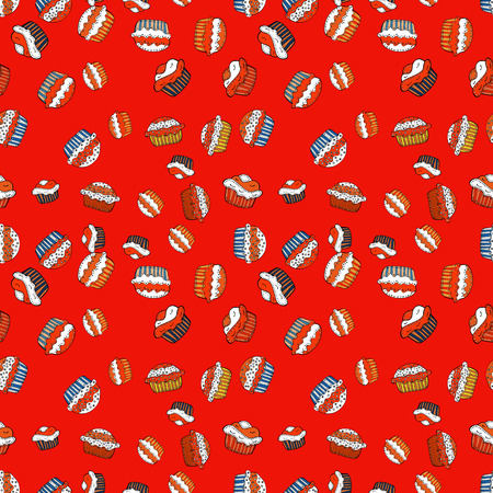 Wrapping paper. Seamless with cupcakes. For food poster design on red, orange and white. Vector illustration.