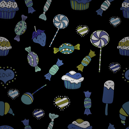 Vector illustration. Seamless pattern with watercolor sweets candies, hand drawn isolated on a blue, black and white background.