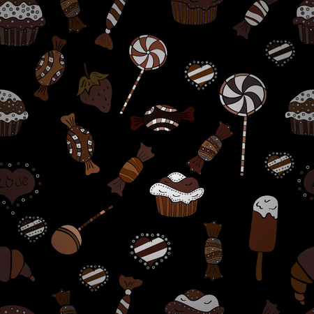 Candies on seamless background. Vector. Watercolor illustration on white, brown and black colors.