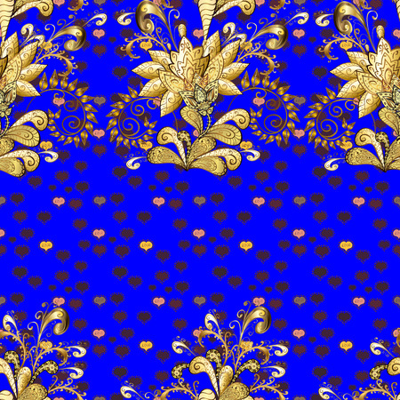 Vector illustration. Vintage seamless pattern on a yellow, blue and brown colors with golden elements. Illustration