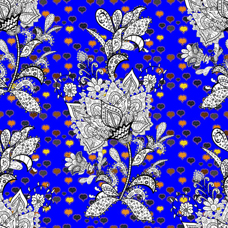 Sketch cute background. Doodles black, blue and white on colors. Nice pattern for wrapping paper vector.