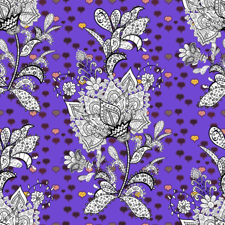 Flat elements. Nice fabric pattern. Doodles violet, white and black on colors. Design. Seamless pattern Print. Vector.