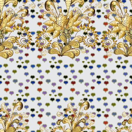 Pretty vintage feedsack pattern in small gray, brown and yellow, flowers. Millefleurs. Floral sweet seamless background for textile, fabric, covers, sketchs, print, wrap, scrapbooking, quilting.