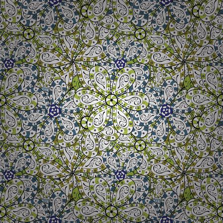 Tender fabric pattern. Design. Print. Flat elements. Doodles white, black and green on colors. Vector. Ilustração