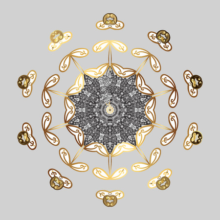 Vector illustration. Holiday design for Christmas and New Year fashion prints. Golden snowflakes. Christmas pattern with snowflakes abstract background. #ABFHUOSV
