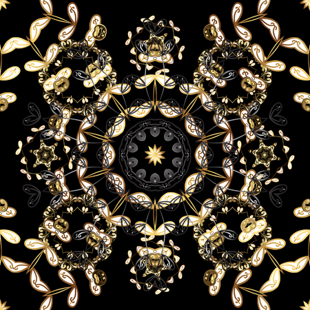 Damask seamless pattern for design. Vector seamless pattern on black, brown and gray colors with golden elements.