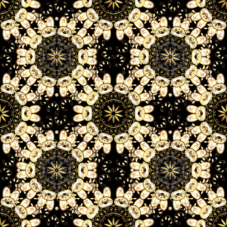 Seamless oriental ornament in the style of baroque. Traditional classic golden vector pattern on white, beige and black colors with golden elements.