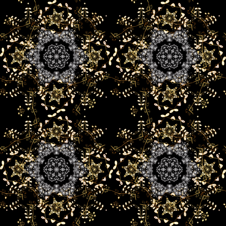 Seamless textured curls. Oriental style arabesques golden pattern on a gray, brown and black colors with golden elements. Vector golden pattern.