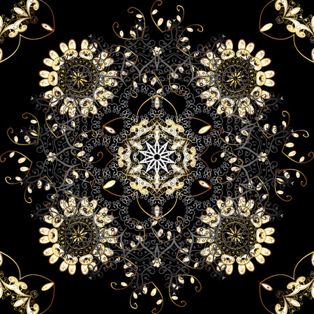 Black backdrop with gold trim. Seamless element woodcarving. Pattern on black colors with golden elements. Luxury furniture. Carving. Small depth of field. Furniture in classic style. Patina.
