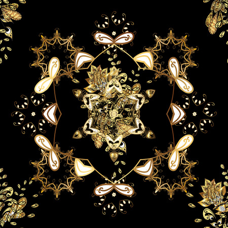 Gold on yellow, black and brown colors. Vector illustration. Decorative symmetry arabesque. Seamless medieval floral royal pattern. Good for greeting card for birthday, invitation or banner.