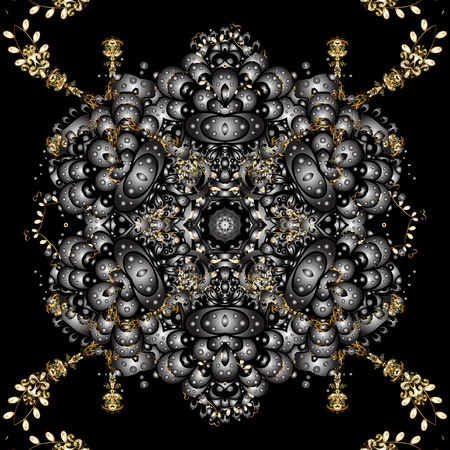 Floral ornament brocade textile pattern, glass, metal with floral pattern on black colors with golden elements. Classic vector golden seamless pattern. Ilustração