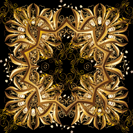 Yellow colors with golden elements. Vector golden floral ornament brocade textile and glass pattern. Gold metal with floral pattern. Seamless golden pattern.
