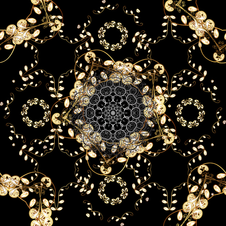 Damask seamless repeating background. Gold floral ornament in baroque style. Golden element on black colors. Gold Sketch on texture background.