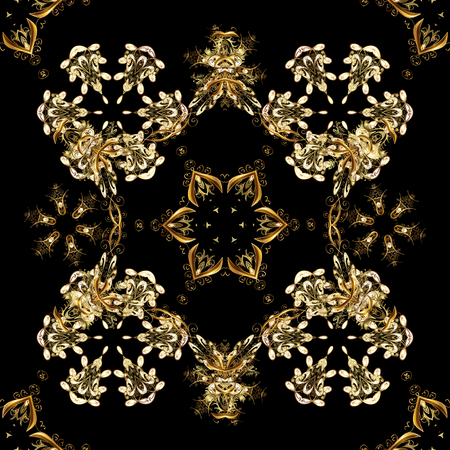 Ornate vector decoration. Golden element on black, brown and beige colors. Luxury, royal and Victorian concept. Vintage baroque floral seamless pattern in gold over black, brown and beige. Illustration