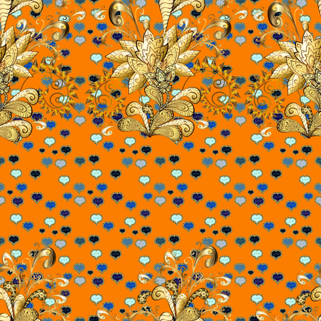 Oriental style arabesques. Blue, yellow and orange colors with gold elements. Vector golden pattern. Seamless golden textured curls. Vector illustration.