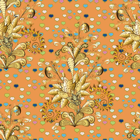 Vector. Openwork delicate golden pattern. Seamless golden texture curls. Brilliant lace, stylized flowers, paisley. Oriental style arabesques. Seamless pattern on brown, orange, yellow colors elements Illustration