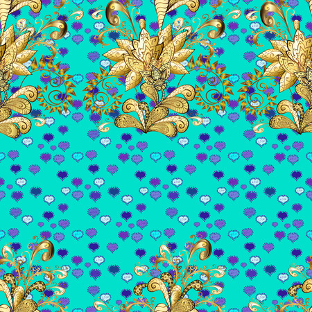 Seamless oriental ornament in the style of baroque. Golden pattern on brown, blue and violet colors with golden elements. Vector oriental ornament. Traditional classic golden pattern. Illustration