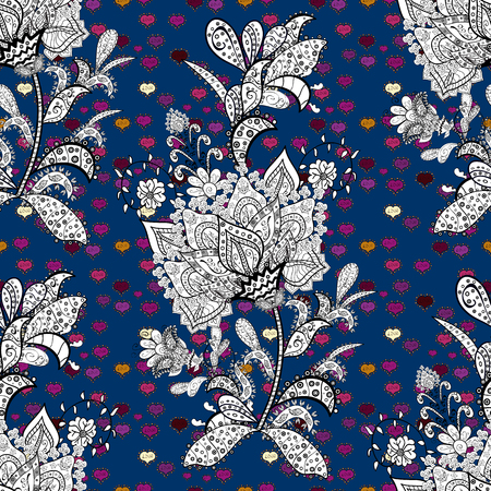 Flat elements. Design. Vector. Doodles white, black and blue on colors. Nice fabric pattern. Seamless pattern Print.