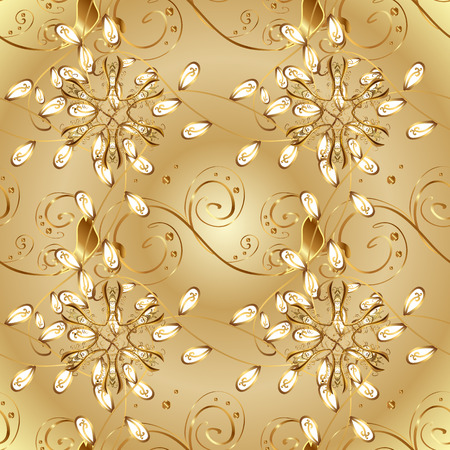 Damask seamless pattern for design. Vector seamless pattern on colors with golden elements.