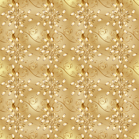 Antique golden repeatable sketch. Damask seamless pattern repeating background. Golden element on colors. Golden floral ornament in baroque style.