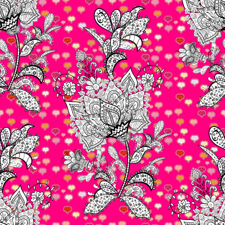 Illustration. Vector texture. Seamless pattern Beautiful fabric background. Doodles on a black, magenta and white colors.