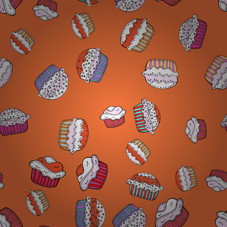 Vector illustration. Seamless.Cupcake vector pattern. Happy birthday cupcake background in white, orange and neutral. Muffin. Cupcake pattern background.
