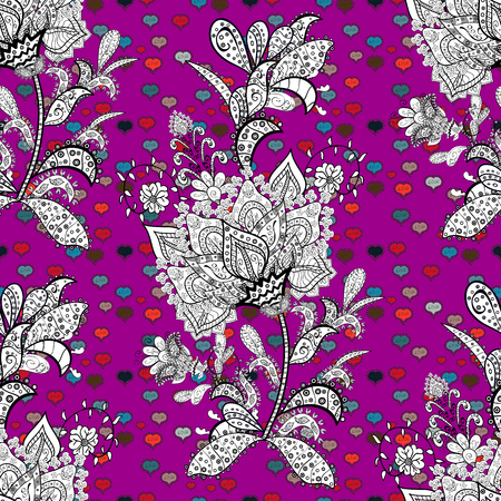 Watercolor seamless pattern for textile. Hand drawn flower seamless pattern (tile). Colorful seamless pattern with cute flowers, paisley, purple, white and black colors.