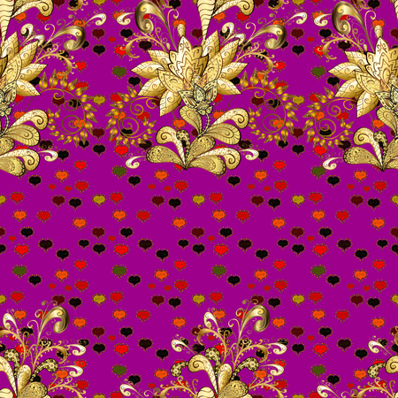 Flowers on purple, brown and yellow colors. Floral seamless pattern background. Flower painting vector for t shirt printing.