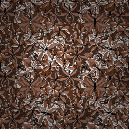 Abstract seamless pattern for clothes, boys, girls, sketch. Vector with butterflies. Illustration in brown, white and beige colors. Vector. 矢量图像