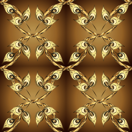Traditional orient ornament. Golden pattern on colors with golden elements. Classic vintage background. Seamless classic vector golden pattern.
