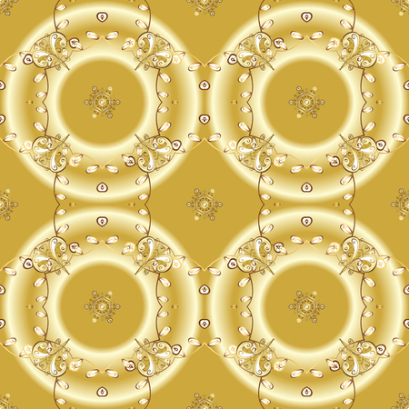 Ornamental vintage pattern on yellow, beige and neutral colors with golden elements. Christmas, snowflake, new year 2019.