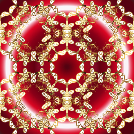 Golden elements on red, brown and white colors. Ornamental vector background. Sketch baroque, damask. Floral pattern. Stylish graphic pattern.