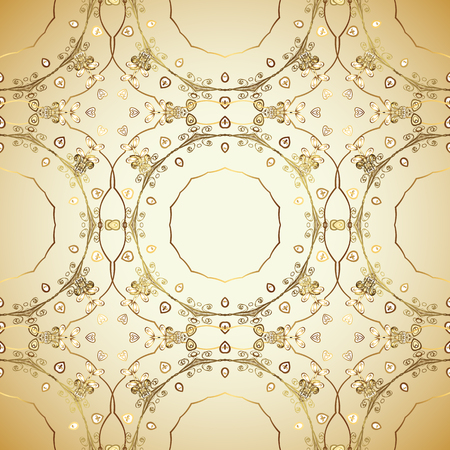 Seamless pattern on colors with golden elements. Traditional orient ornament. Classic vintage background. Vector illustration. Seamless classic vector golden pattern. Illustration