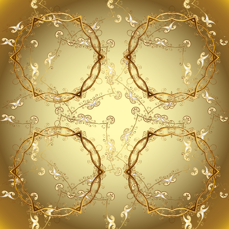 Classic vintage background. Ornamental classic vector neutral, beige and brown and golden pattern. Traditional orient ornament. Illusztráció