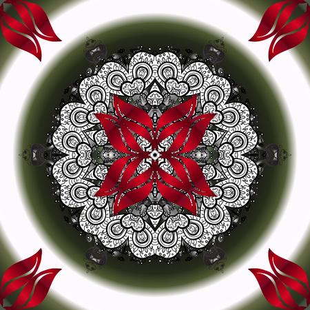 Kaleidoscope, medallion, yoga, india, arabic. Geometric circle vector element. Tribal, Boho, Bohemian style. Ornament neutral, gray and red colored card with mandala.