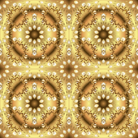 Golden pattern on colors with golden elements. Seamless golden pattern. Vector oriental ornament. Illustration