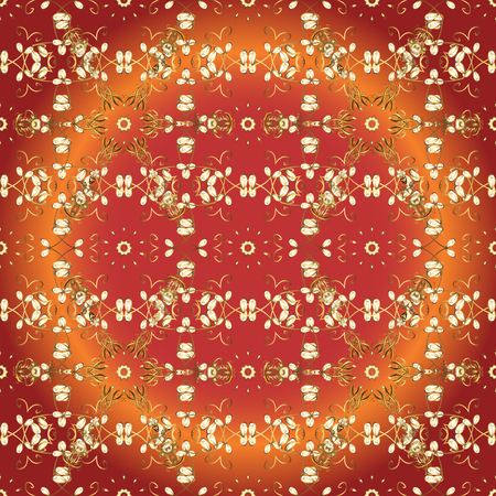 Pattern on orange, red and brown colors with golden elements. Patina. Seamless element woodcarving. Orange, red and brown backdrop with gold trim. Luxury furniture. Furniture in classic style. Carving