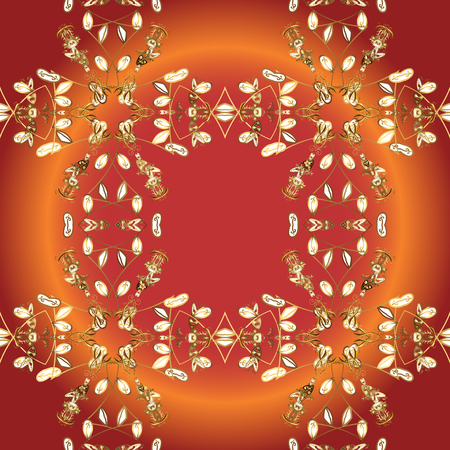 Seamless pattern on orange, red and brown colors with golden elements. Vector. Oriental style arabesques. Seamless texture curls. Brilliant lace, stylized flowers, paisley. Openwork delicate pattern. Illustration