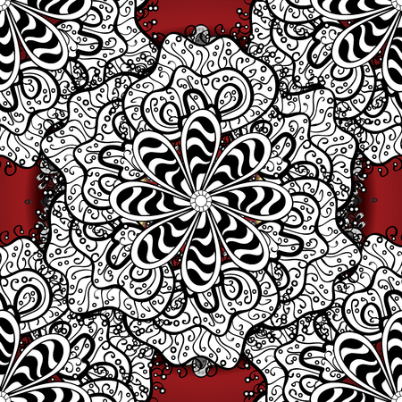 Vector colored snowflakes design decorative Christmas element on a white, black and red colors. Çizim