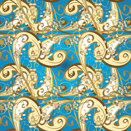 Seamless golden textured curls. Vector illustration. Vector golden pattern. Oriental style arabesques. Blue, beige and yellow colors with gold elements. Illustration