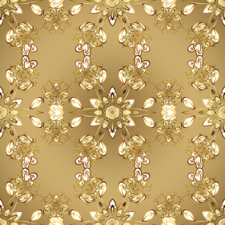Backdrop, fabric, gold sketch. Golden pattern on beige colors with golden elements. Vector golden seamless pattern. Flat hand drawn vintage collection. Illustration
