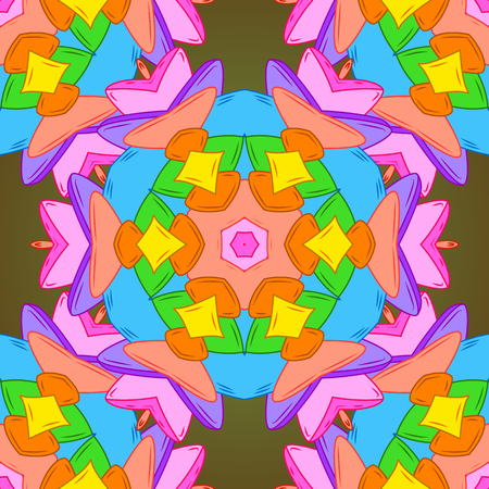 Seamless pattern Elegant decorative ornament for fashion print, scrapbook, wrapping paper, sketch. Pictures on a orange, blue and green colors Vector illustration. Ilustração
