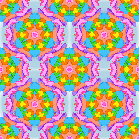 Seamless Abstract interesting background. Vector. Tender fabric pattern. Doodles pattern. Orange, pink and blue on colors. Illustration