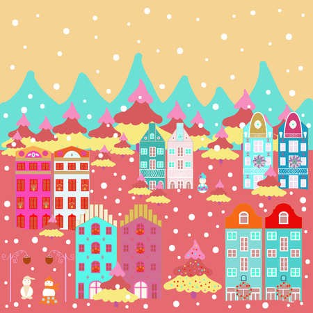 Colorful bright buildings on the hills and trees. Houses on pink, beige and blue colors. Vector. Illustration