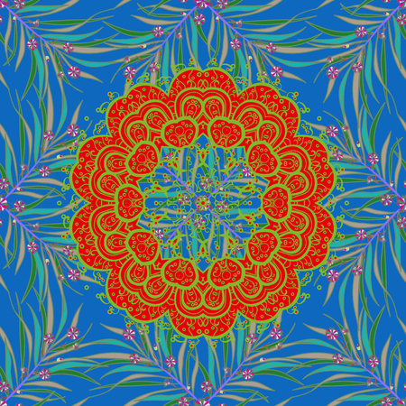 Mandala on blue, red and green colors. Spiritual and ritual symbol of Islam, Arabic, Indian religions. Geometric circle element in glod colors. Vector Round Ornament Pattern.