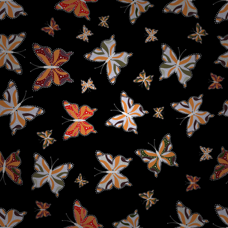 Illustration in orange, neutral and black colors. Vector. Background for textile, fabric, print and invitation. Seamless pattern with butterflies.