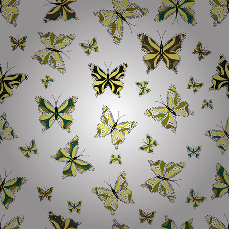 Beautiful seamless butterfly iterative texture isolated on contrast back layer. Wildlife insect fauna backdrop for cover. Vector sketch. Nature butterfly repeat theme in green, yellow and white colors
