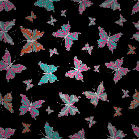 Spring butterfly cute theme. Vector illustration. Pretty seamless butterfly cloth texture with blotter on black, blue and pink. Repeating insect fabric artwork for sketch.  イラスト・ベクター素材