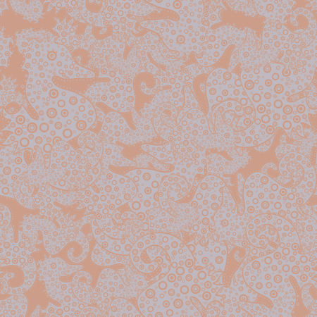 Seamless Elegant vector texture with floral elements. Doodles beige, neutral and gray on colors.